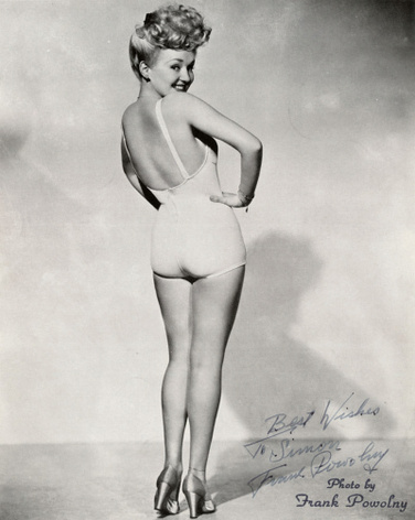 "Actress Betty Grable doing her best to motivate the boys in World War II with her ""Million Dollar Legs"" I like to think that my approach to motivating the boys has some subtle differences..."